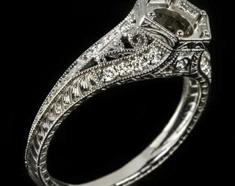 Vintage Diamond Engagment Ring Setting Semi-Mount Round Filigree 6mm Antique 14K White Gold 7462