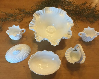 Fenton Milk Glass Hobnail Five Piece Set with scallopped edges Bowl, Sugar & Creamer Candy Dish and Basket Vintage