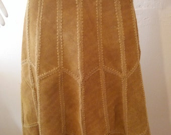 Vintage 70s suede leathercaramel patchwork skirt by LEATHERBUG small