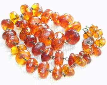vintage faceted AMBER necklace ~ 63g~ old handmade beads on wires - inA1617