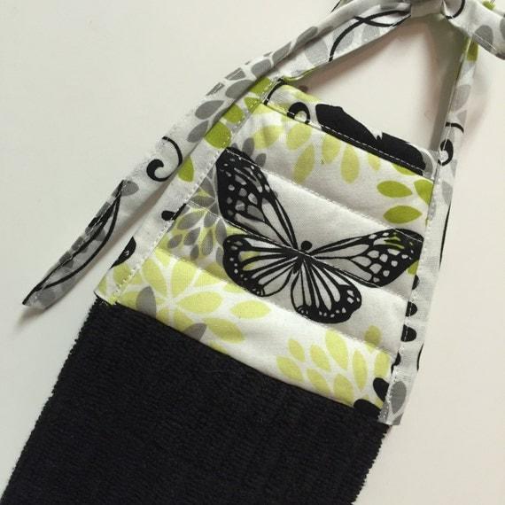 Butterfly Kitchen Towel-Spring Decor-Black Towel-Butterfly