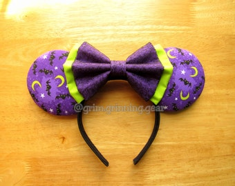 Halloween Minnie Mouse Ears - Bats and Moons