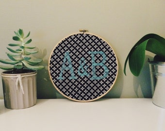 Hand Embroidered Intials in Embroidery Hoop