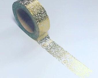 Gold rose washi, gold foil washi, rose washi tape, planner washi, washi tape