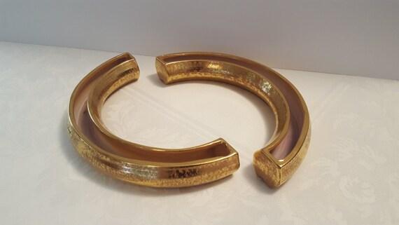 Stangl Granada Gold Pair of Floral Semi-Rings #1950-10