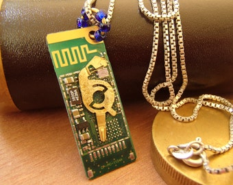 Circuit Board Pendant Necklace. Funky, Fun, Circuitpunk, Circuitboard, Techie Statement Jewelry! FREE SHIP in U.S.!