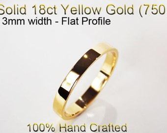 18ct 750 Solid Yellow Gold Ring Wedding Engagement Friendship Friend Flat Band 3mm