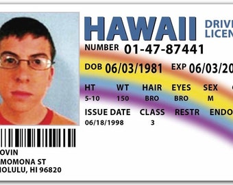 McLovin SUPERBAD Drivers License Replica