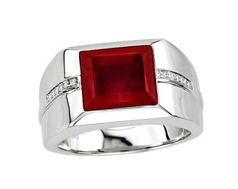 Men's Ruby Ring In Sterling Silver with Genuine Diamonds. Red Signet Ring. Ruby Signet Ring. Red Gemstone Signet Ring for Men Signet Ring