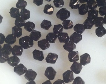 2,000 Black Acrylic 5mm Bicone Beads Faceted Beading Jewelry Making Supplies Arts Crafts (ID WA 9)