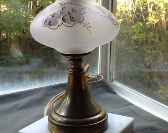 Marble Base Lamp with Hanpainted Glass Center-Gorgeous!!
