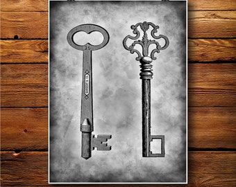 Keys  illustration, Locket Print, House Lock Decor, jail poster BW472