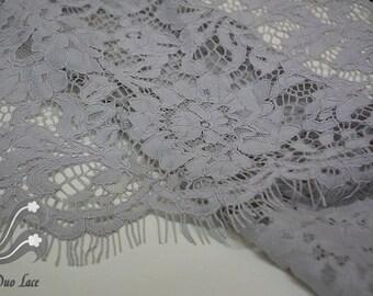 Grey Gray Lace Fabric, Grey stetch lace, eyelash lace