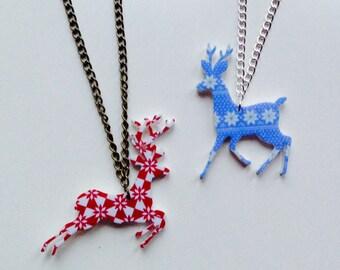 Deer   Stag   Reindeer   Christmas   Winter   Fair-aisle   Laser Cut   Acrylic   Necklace