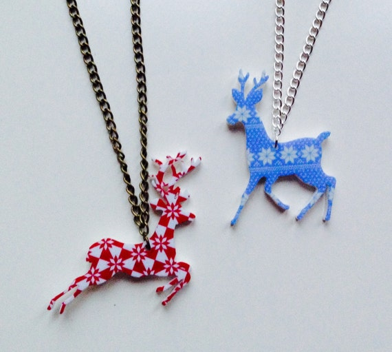 Deer Stag Reindeer Christmas Winter Fair-aisle Laser Cut Acrylic Necklace
