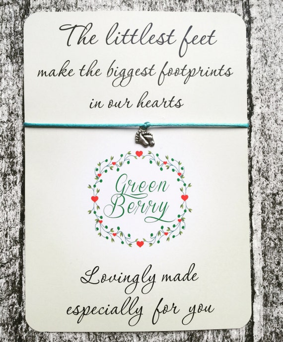 """Tiny Feet String Bracelet on """"The Littlest Feet make the biggest footprints in our hearts"""" card madebygreenberry wish bracelet"""