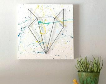 Fox head, geometric fox, woodland fox, boy room, boy wall art, teen wall art, nursery wall art, gift, bedroom wall art, painting, modern