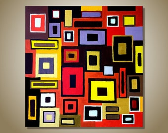 SALE - Geometric abstract art, original painting, multicolored modern painting, contemporary acrylic art on canvas, home decor, office decor