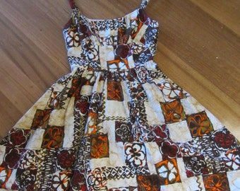 1950S  Inspired Hawaiian Bark cloth   Sundress