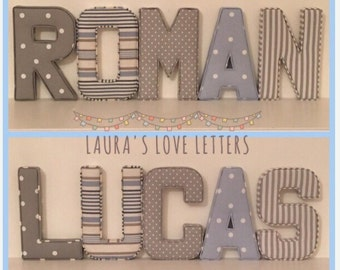 Fabric letters, name, fabric padded letters, A-Z, personalised, initial, name, alphabet, baby room, baby gift, nursery, baby
