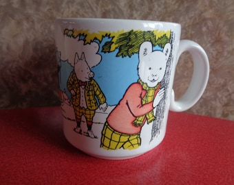 Vintage Rupert The Bear mug from 1991 depicting Rupert and his friends