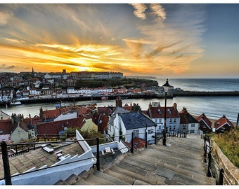 199 steps Whitby Church Stairs Harbor Poster Print P2617