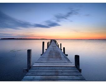 PS0435 Poster Print tranquil scene Jetty over blue SEA Landscape ART