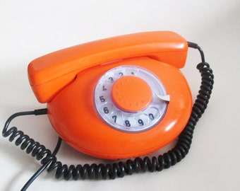 Soviet Rotary Phone, Vintage Orange Rotary Telephone, Retro Home Phone, Antique  Phone Made in USSR 80s