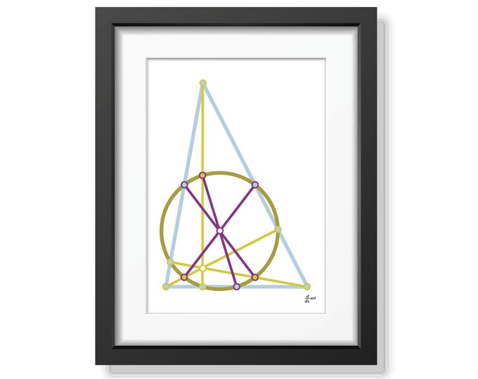 Nine point circle 01 [mathematical abstract art print, unframed] A4/A3 sizes
