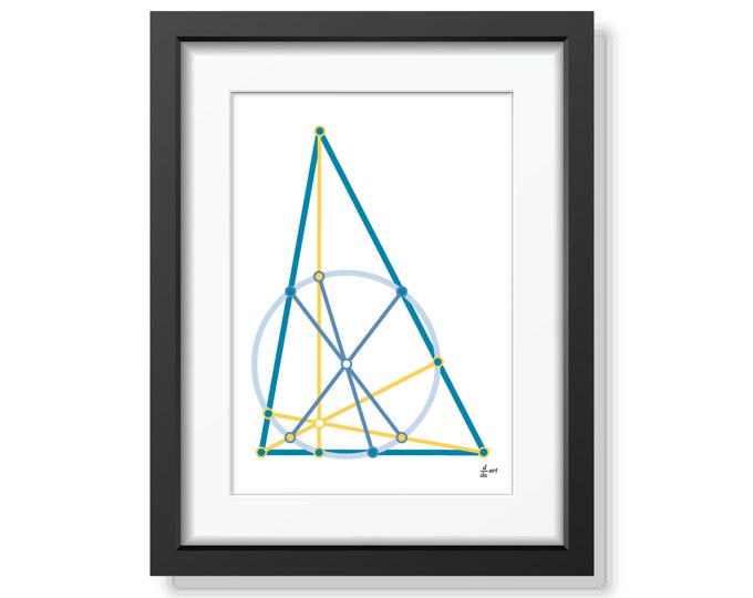 Nine point circle 03 [mathematical abstract art print, unframed] A4/A3 sizes