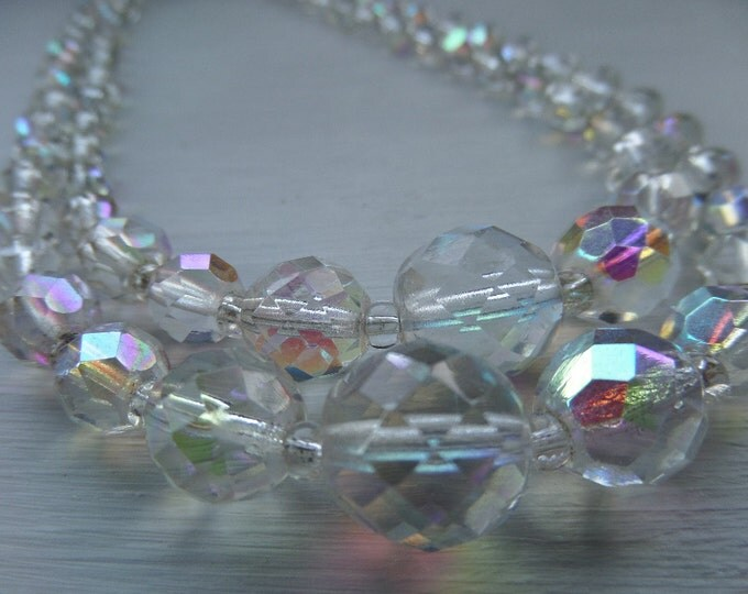 """FREE SHIPPING Aurora Borealis Necklace, Faceted Crystal Beads, Double Strander, Irridescent Rainbow Effect, 1940's, Rhinestone Clasp, 15.5"""""""