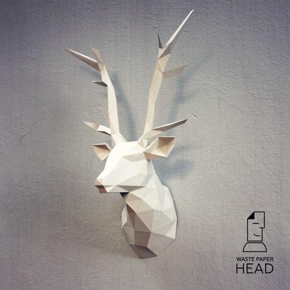 papercraft deer head 1 printable diy template by. Black Bedroom Furniture Sets. Home Design Ideas