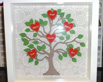 "Personalised Family Tree Frame 9"" x 9"" - Brown/Red/Green"