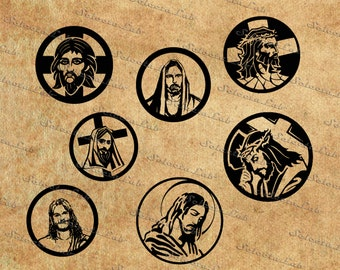 Digital SVG PNG, jesus christ icon, religious cross, christian religion, circle icon, clipart, vector, silhouette, instant download