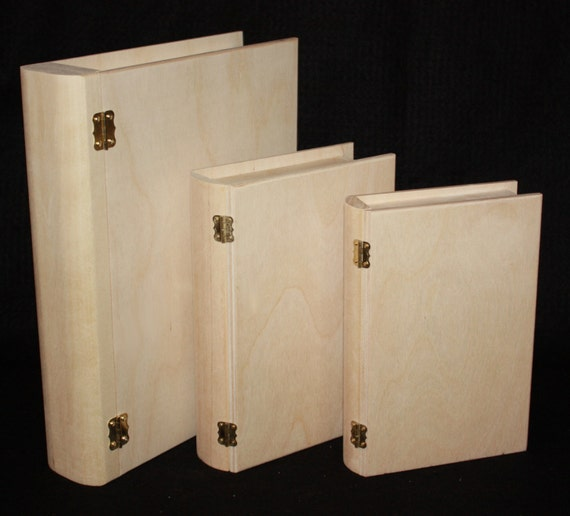 Items Similar To Set Of 3 Wooden Book Boxes Wooden Book