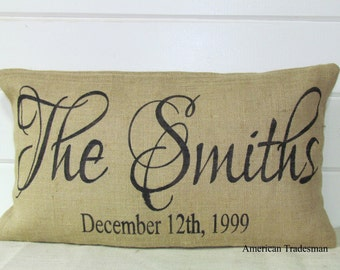 Burlap Pillow- Personalized, Family Last Name, Year Established Date, Christmas Gift, Home Decor