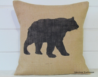 Bear Pillow- Burlap Pillow, Woodland Nursery Decor, Lodge Decor, Cabin Decor, Bear Silhouette