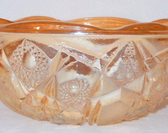 Vintage Iridescent Marigold Fentec Pattern Pressed Glass