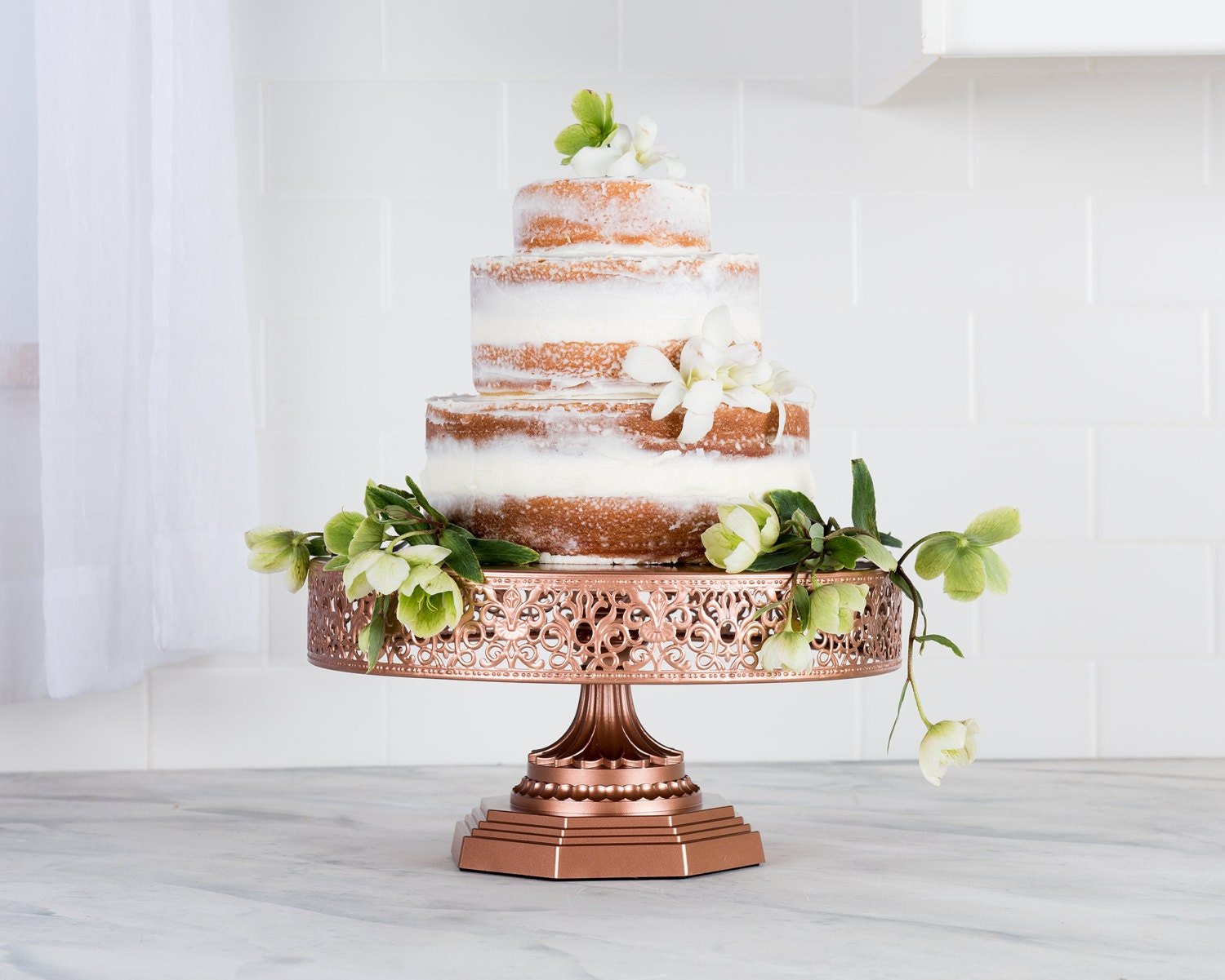 rose gold cake stand 12 inch round cake by platinumhomedesigns. Black Bedroom Furniture Sets. Home Design Ideas