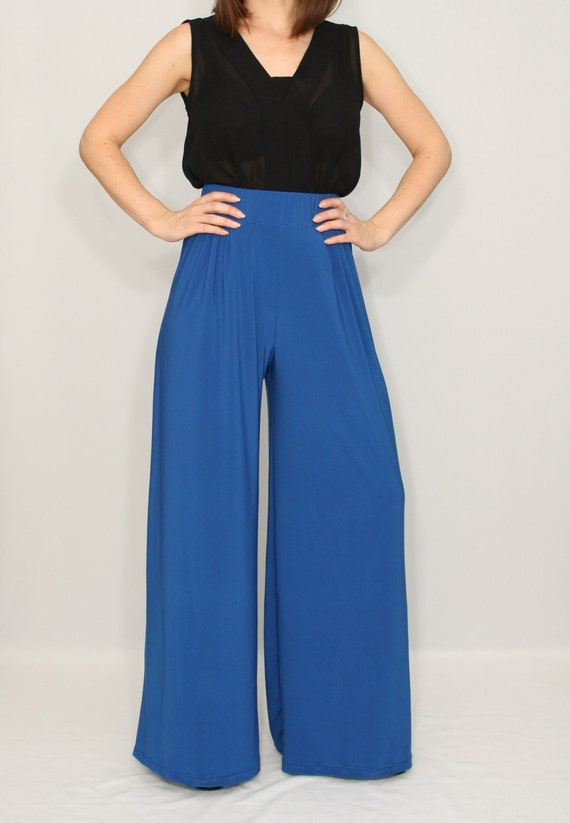 Cobalt blue pants Wide leg pants with pockets Women trousers