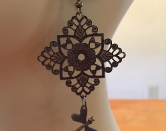 Bronze Filigree with Dragonfly Earrings