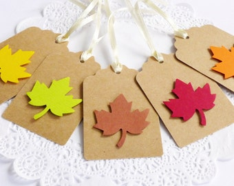 Autumn Leaf Tags, Fall in Love Bridal Shower, Autumn Decoration, Fall Wedding, Thanksgiving Decor, Kraft Tags, Autumn Wish Tree