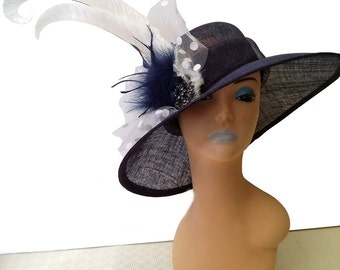 Hannah Navy Blue Designer Hat - UH231