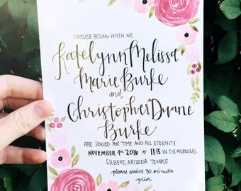 Custom Floral Watercolor Wedding Invitation