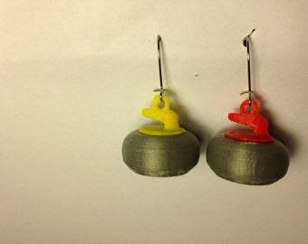 Curling Stone Earrings - 3D printed