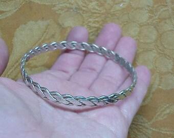 Solid sterling silver vintage twisted bangle chain link signed bracelet #110