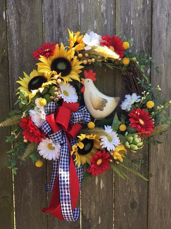 Rooster Wreath Sunflower Wreath Rooster Decor Everyday