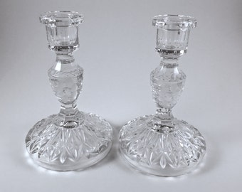 Glass Candlesticks, Pressed Glass, Etched Glass, Vintage Set of Two Glass Candle Holders, Gift for a Bride, Table Decor