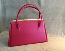 Red Vinyl Handbag, 1950's Ladies Red Handbag