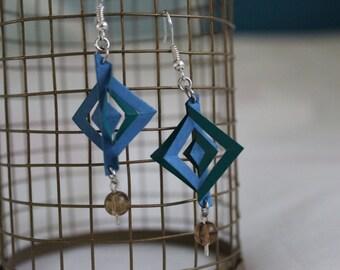 Geometric Origami Earrings with Beads